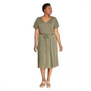 NWT Ava & Viv Plus Size V Neck Knit Dress 4X Olive